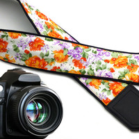 InTePro Tiny Flowers Camera strap.  Orange roses camera strap.  DSLR / SLR Camera Strap. Camera accessories.