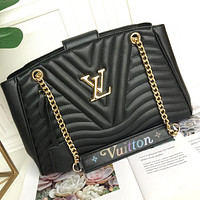 LV Louis Vuitton LEATHER NEW WAVE CHAIN HANDBAG SHOULDER BAG