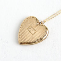 Vintage Solid 10k Gold Heart Locket Necklace- 1930s 1940s WWII Era Sweetheart Etched Monogrammed AJV Romantic Jewelry