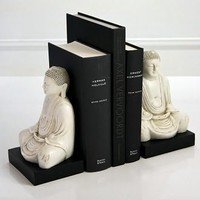 White Marble Buddha Bookends, House Parts - Barnes & Noble