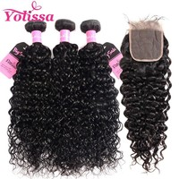 Yolissa Water Wave Bundles With Closure 3 Bundles Human Hair With Closure Brazilian Hair Weave With Lace Closure Remy Hair