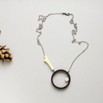 Circle necklace, circle and pearl, open circle necklace, wood necklace