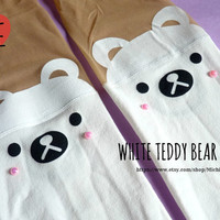 Cute White Bear Knee High Hosiery Pantyhose Tattoo Socks Leggings Tights Stockings Kawaii