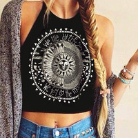 Fasion Crop Tops Women Print Sleeveless Cropped Feminino Halterneck Tank Tops Vest Women Shirt Blusa for  SN9