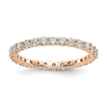 1.0ct Natural Diamond Wedding Ring Womens Stackable Eternity Band 14k Rose Gold