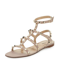 Valentino Rockstud Leather Flat Sandal