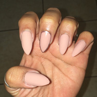 Matte and Gloss Velvet Nude nail set with Rose-Gold accent finger, fake nails, false nails