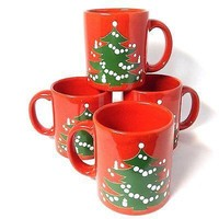 Set of 4 Waechtersbach Christmas Mugs