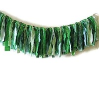 Fabric Garland Photo Prop Green Ombre Saint Patricks Day Candy Table Teen Room Home Decor Boho Chic Spring Decoration Gypsy