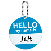 Jett Hello My Name Is Round ID Card Luggage Tag