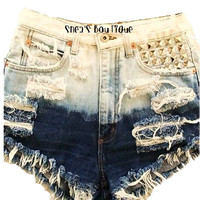 High Waisted Shredded Ombre Studden Shorts by SheaBoutique on Etsy
