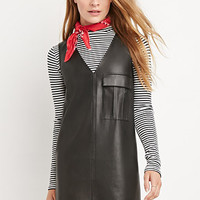 V-Cut Faux Leather Dress
