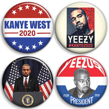 KANYE WEST for American President 2020 - 4 x Button Badge Set - 25mm 1 inch USA