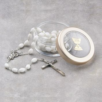 White/Black First Communion Rosary and Clear Box - Perfect First Communion Gift