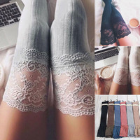 Womens Knitted Lace Cotton Over Knee Thigh Stockings High Socks Pantyhose Tights