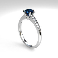 0.50ct Teal diamond solitaire ring, white gold, diamond solitaire, blue diamond engagement ring, teal diamond ring, unique, custom, teal