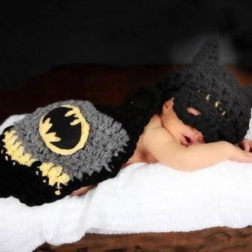 Batman Baby Hats+ Cape Fashion knitted knit Prince Unisex Cosplay Costume Crochet Clothing set Newborn Infant Toddler Photography Props Outfits Beanie Cap & Hats = 1928075076