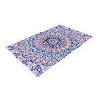 "Iris Lehnhardt ""Summer Lace II"" Circle Purple Woven Area Rug"