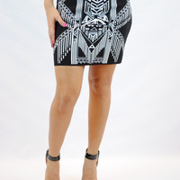 (anb) Short tribal print black and white knit bodycon skirt