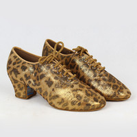 Women Latin Shoe BD T1B Shinning Leopard Pattern Satin  Split Sole  Ladies Teaching Shoe Dancesport  Shoe  Rumba  Salsa Dance