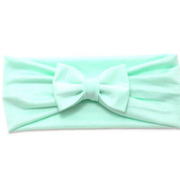 Mint Green Ruched Jersey Knit Bow Headband