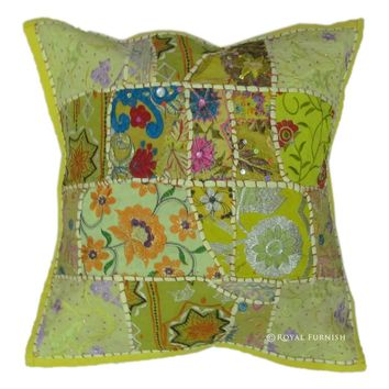 17x17 Yellow Indian Vintage Decorative Patchwork Embroidered Throw Pillow