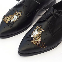 Loafers Shoes Women~ All Black ~ Branded Flat Shoes For Women~ Dress Shoes For Women With Laces~ Most Popular Shops~ Black And Gold Shoes