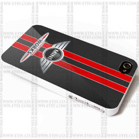 John Cooper Works Red Sports Stripes of simulated Carbon Fiber Costume - iPhone Case 4/4S, 5/5S, 5C and Samsung Galaxy S3, S4 Case.