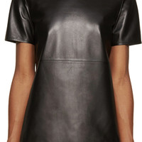 Black Grained Leather T-Shirt