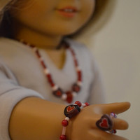 """American Girl and 18"""" Doll 3 pc Heart Glass Bead Necklace"""
