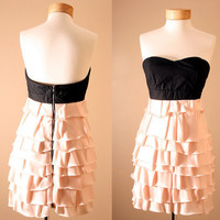 ON SALE 4th of July // Low Stock / Corset Strapless Dusty Pink Princess Ruffle Tiered Dress (S, M or L)