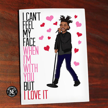 The Weeknd Valentines Day Greetings Card - Cant Feel My Face Lyrics - 5X7 Inch Card