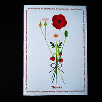 Printable card - Say thanks in different languages - Thank you card - Flowers card - Multilingual thanks