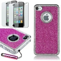 Pandamimi Deluxe Hot Pink Chrome Bling Crystal Rhinestone Hard Case Skin Cover for Apple iPhone 4 4S 4G With Front and Back Screen protector and Pink Stylus