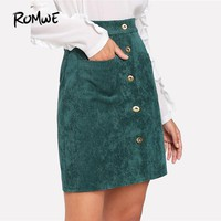 ROMWE Single Breasted Dual Pocket Corduroy Skirt 2018 New Arrival Green Button Shift Casual Bottom Mid Waist Short Skirt