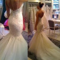 Hot Sale Tulle Spaghetti Straps Lace Appliques Court Train Mermaid Wedding Dress vestidos de novia sirena