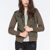 Hurley Quilted Fleece Womens Puffer Jacket Olive  In Sizes