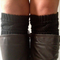 Black Boot Liners Boot Cuffs Handknit Rose Cabled Boot Toppers