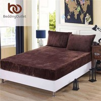 Beddingoutlet Coffee Fitted Sheet Soft And Warm Flannel Fabric Bed Sheet 5 Sizes For Home Bedclothe