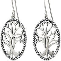 Sterling Silver Oxidized Celtic Tree of Life Oval Dangle Earrings