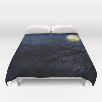 Art Duvet Cover Blue Moon photography home decor photograph Royal Navy Blue sky photo stars star nature bedding full queen king bedroom