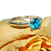 Sterling Silver Solitiare Ring, Ring With Blue Stone, Promise Ring With Stone