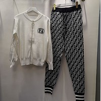 FENDI New Popular Women Casual Round Collar Top Pants Set Two-Piece