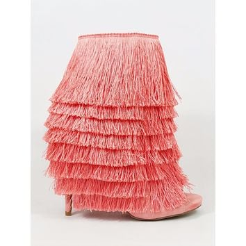 Nelly Bernal B Mambo Blush Fringe Open Toe 4.75 Stiletto High Heel Ankle Boots