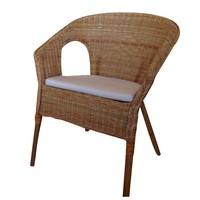Pre-owned Rattan Bamboo Chairs with Cushions - A Pair
