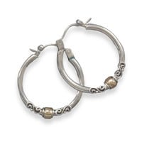Polished Hoop Earrings with Bali Design and 14 Karat Gold Plate Beads