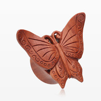 A Pair of Autumn Butterfly Organic Sabo Wood Ear Gauge Plug