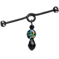 Handcrafted Black Steel Painted Fantasy Dangle Industrial Barbell 38mm