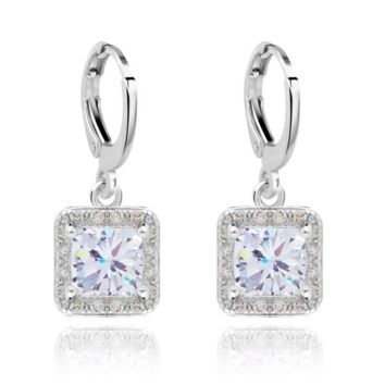 """Crystal Drop Earrings Gold Plate Cubic Zirconia """"Ever After Earrings"""""""