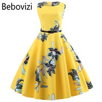 Yellow Women Dress New 2018 Casual Floral Elegant Retro Vintage 50s 60s Robe Femme Rockabilly Swing Pinup Vestidos Party Dresses